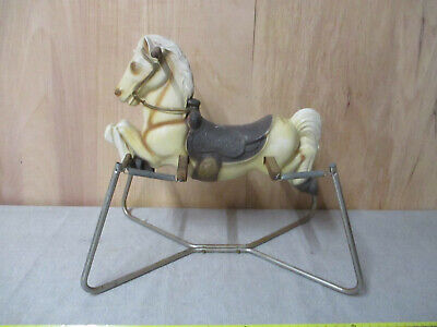 Vintage Riding Horse Spring Bouncing child's play toy White Horse