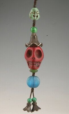 China Artificial Jade Hand Carved Skull Statue Pendant Cool Collection Old