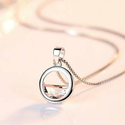 Circle Lake Pendant Chain Necklace 925 Sterling Silver Womens Jewellery Choker