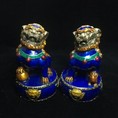 A Pair EXQUISITE Old Chinese hand made Cloisonne Copper Lion Foo Dog Statue