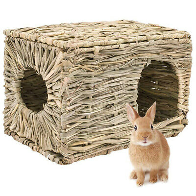 Portable Woven Grass Pet Rabbit Hamster Guinea Pig Cage Nests House Chew Toy