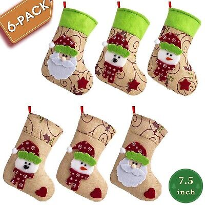"6 Pack 7.5"" Burlap Christmas Stockings Hanging Snowman Socks with Green Cuff"