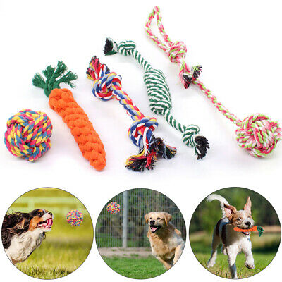 7PC Dog Chew Knot Toys Teddy Pet Puppy Teeth Bear Braided Tough Strong Rope AU.