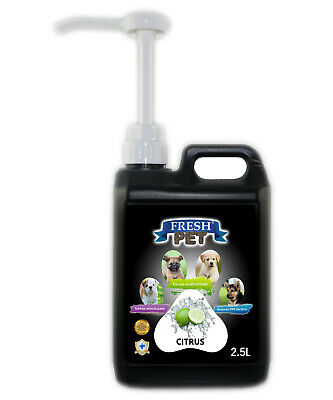 Fresh Pet Disinfectant for Dogs & Cats - With Pump - Citrus - 2.5L - Black