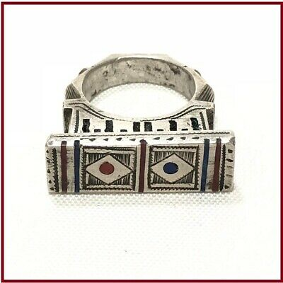 Handmade Antique Vintage Tuareg Old Sterling Silver Ring Ethnic Jewelry Bohemian