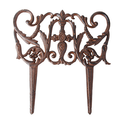 Ornate Cast Iron Brown Lawn Garden Edging Edge 31x30 cm