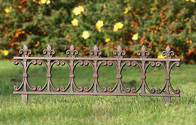 Large Ornate Fleur de Lys Cast Iron Lawn Edging Edge 36.5 x 81.5 cm