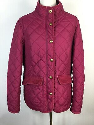 JOULES Pink/ Burgundy Elbow Patches Padded Quilted Jacket Coat Sz 14 16