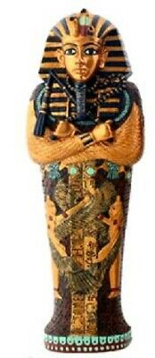 Egyptian Pharaoh King Tut in Coffin with Mummy Figurine