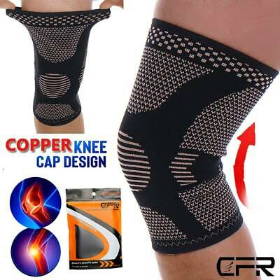 Copper Knee Sleeve Compression Brace Support Sport Joint Injury Pain Arthritis S