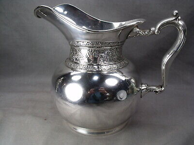 Large Victorian Floral Embossed Silver Plate Water Wine Pitcher Stunning!!!