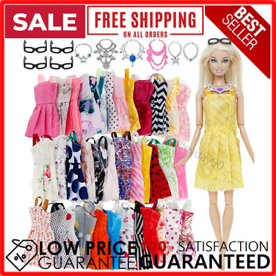 Clothes And Accessories For Barbie Doll 20 Pcs Party Dress Outfit Glasses Neck