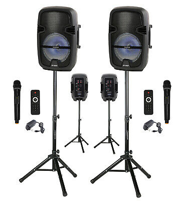 "Portable 8"" Bluetooth PA- DJ Speaker 4500W PMPO, Loudspeaker, Mic, Stand, Pair"