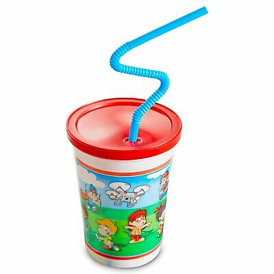 [50 Pack] 12 OZ Plastic Kids Cup with Lid and Straw - Spill Proot, BPA Free &...