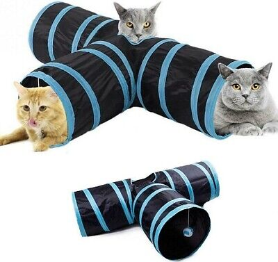 Tunnel Pet Cat Foldable 3 Way Shape Kitten Play Puppy Toy Exercise Rabbit Toys