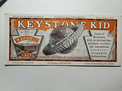 Antique Ink Blotter Keystone Leather Chain Belting Industrial NO Reserve