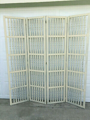 Vintage Mid Century White Wood Spindle 4 Panel Room Divider