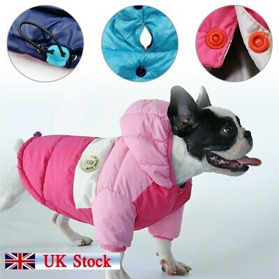 Warm Pet Dog Coat  Jacket Jumper Sweater Hoodie Winter Protector Outfit S-XL UK
