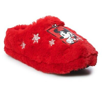 Womens's DISNEY Minnie Mouse 5/6 7/8 9/10 Red Fuzzy Clog Slippers