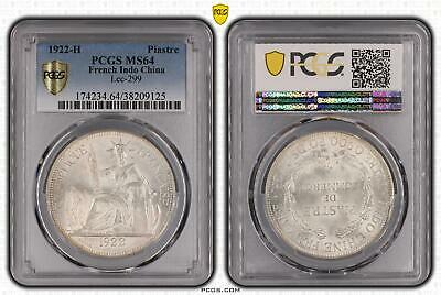1922-H French Indo China Piastre Silver Lec-299 PCGS - MS64 -125 D11-4223