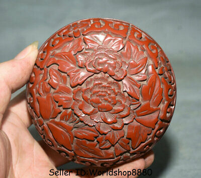 "4.2"" Antique Old Chinese Red Lacquerware Dynasty Palace Flower Jewelry box Boxes"