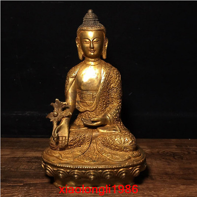 "7.8"" old China antique Pure copper Sakyamuni Buddha statue"