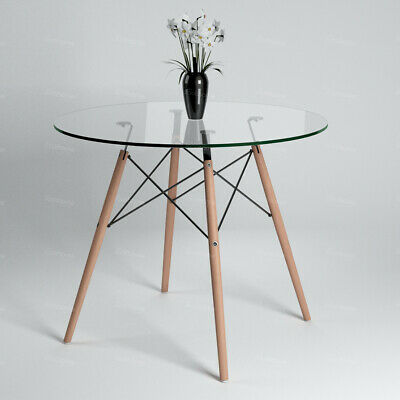 RoundDining Table Tempered Glass Table Top&Wooden LegsKitchen Restaurant Cafe