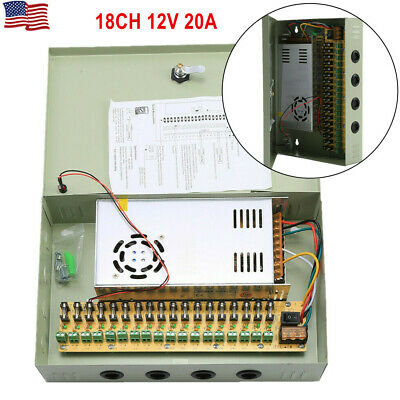 18CH Security Camera Power Supply Box DC 12V 20A Distribution for CCTV System
