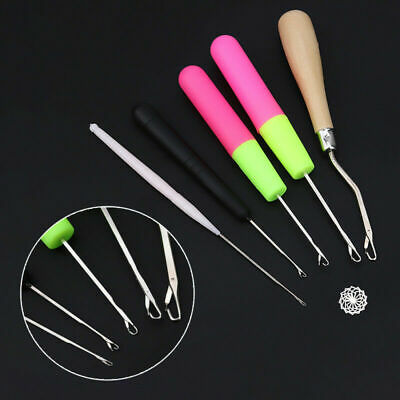 5pcs Wooden Bent Latch Hook Tool and Plastic Latch Hook Crochet Needle Great AU
