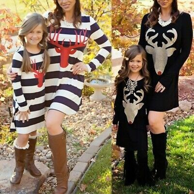 Fashion Mother Daughter Dress Family Matching Christmas Outfits Party Dress Wear