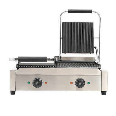 3600W Commercial Sandwich Toaster Maker Twin Panini Press Grill Grooved Griddle