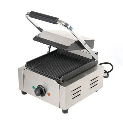 1800W Commercial Panini Press Sandwich Toaster Maker Double Grooved Plate Grill