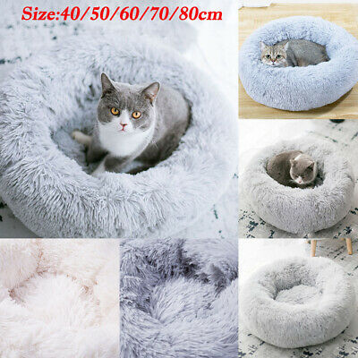 UK Pet Dog Cat Warm Plush kennel Calming Bed Round Nest Comfy Sleeping Cave Gift