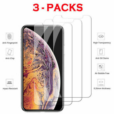 3PCS Tempered GLASS Screen Protector Thin For iPhone 11 Pro X Xs Max XR 8 7