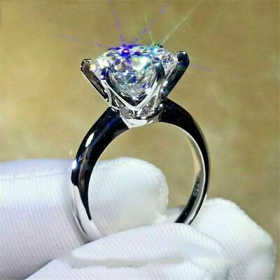 3Ct Ct Round Cut Diamond 6 Prong Solitaire Engagement Ring 14K White Gold Ov
