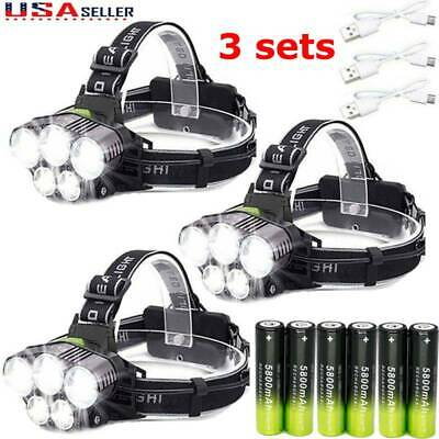 160000LM 5X T6 LED Rechargeable Headlamps Headlight 18650 Flashlight Head Torch-