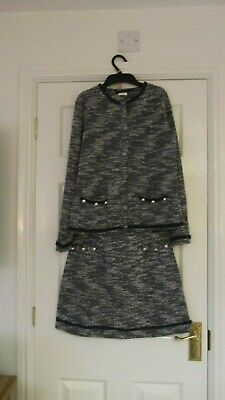 Girls M&S Skirt & Jacket Two Piece Suit - Navy/White - Age 15 Years