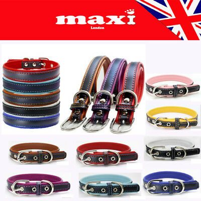 Beautiful Quality Soft Cortex Leather Collar For Pet Puppy Cat Dog UK SELLER