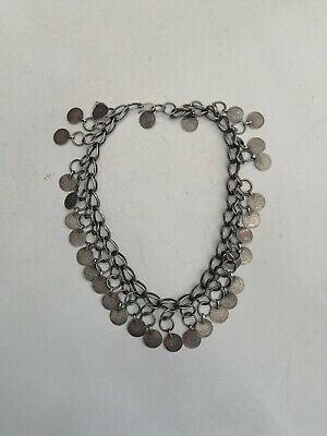 Unusual Old Antique Rare Sterling Silver Palestinian Necklace With Ottoman Coin