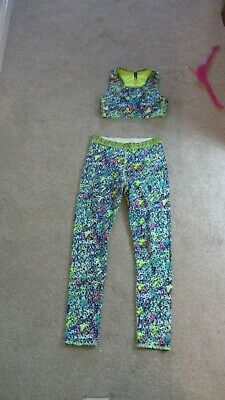 Girls M&S Two Piece Dance, Aerobics, Keep-Fit Outfit Etc- Crop Top & Leggings