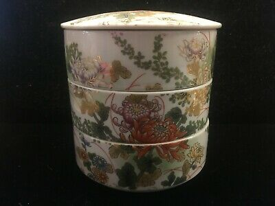 """Asian China/Japan stacking covered porcelain boxes 5"""" tall marked"""