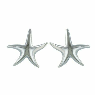 925 Solid Sterling Silver Starfish 16mm Post Stud Earrings – Small Fish Stud...