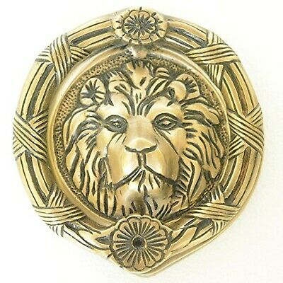 Lion Face Round Shape Door Knocker - Solid Brass Made Door Hardware - Antique...