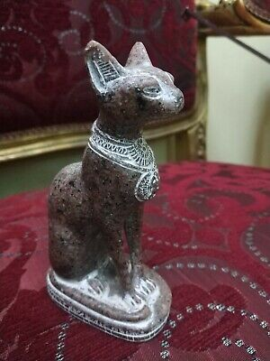 ANTIQUE  RARE ANCIENT EGYPTIAN Cat Bastet Carved Granite For decoration Bc