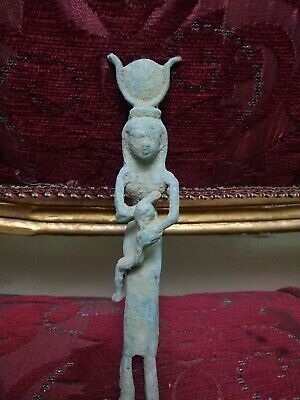 Rare Antique Ancient Egyptian StatueIs Isis bronze 1553 Bc