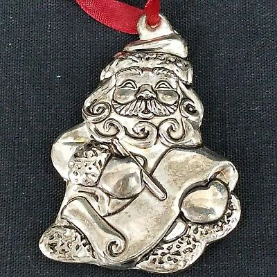 "Gorham Santa Making His List Ornament, 2.5"" tall, Silver Plate"
