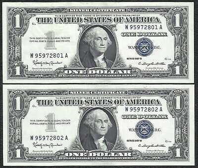 1957B $1 SILVERS! (~2 Consecutive~) CRISP XF-AU! Old US Paper Money Currency!