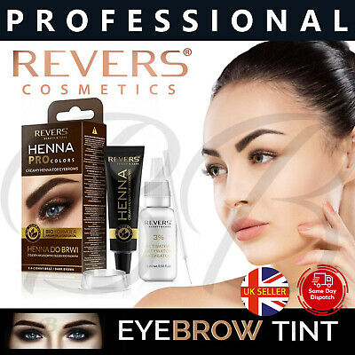 REVERS Cosmetics HENNA CREAM Eyebrow Lash Tint Dye ARGAN CASTOR Oil BLACK BROWN