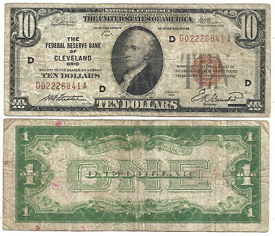 1929 $10 *CLEVELAND* 1934 $1 *FUNNY BACK* 2 Notes! Old US Paper Money Currency!