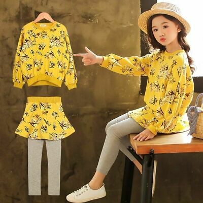 Girls Clothing Sets Spring Autumn Print Floral Clothes Set Hoody Skirt Tops Pant